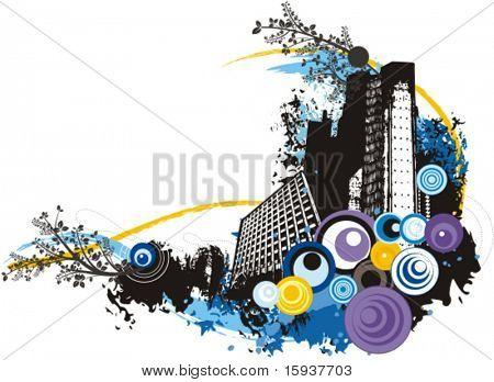 Gran ciudad - edificios vector fondo con grunge y detalles florales. Comprobar mi cartera para mucho m