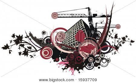 Urbane Bebauung vector Hintergrund mit Grunge und floralen Details. Prüfen Sie mein Portfolio für viel mehr von