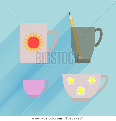 Dark transparent mug isolated, porcelain demitasse and teacup with flower pattern on blue background.