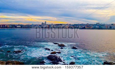 Evening cityscape of La Coruna, Galicia, Spain