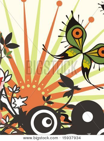 Abstract floral vector background with a fancy butterfly. Check my portfolio for many more of this series as well as thousands of similar and other great vector items.