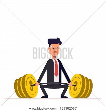 Businessman or manager can not lift a heavy barbell with money. Great difficulties. Unattainable. Vector, illustration EPS10