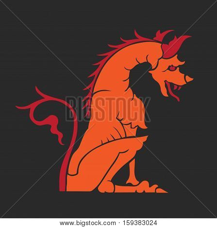 dragon statue fantasy colorful logo design vector stock