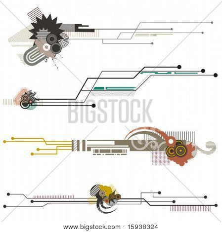 Abstract technical design elements with circuit details. Check my portfolio for much more of this series as well as thousands of other great vector items.