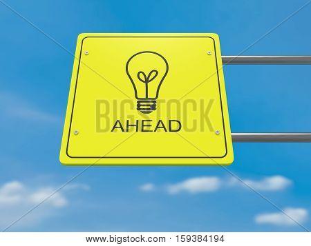 Business Idea Concept: Lightbulb Icon Ahead 3d illustration