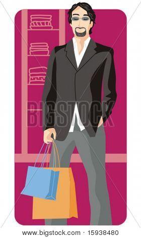Série de ilustração vetorial comercial. Homem de compras. Confira meu portfólio para muito mais desta série um
