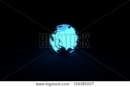 Abstract 3d model of blue glowing earth globe on black background. Front Eurasian continent