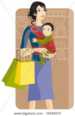 Série de ilustração vetorial comercial. Menina de compras. Confira meu portfólio para muito mais desta série
