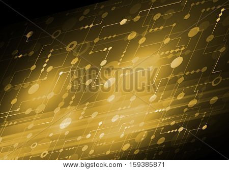 Abstract connection gold  structure as connection concept on color background