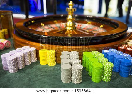 Wooden Casino Roulette And Chips