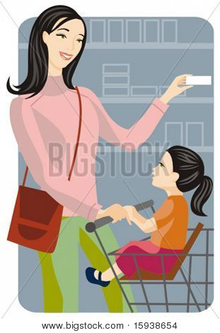 Shopping vector illustration series. Shopping mother with her kid. Check my portfolio for much more of this series as well as thousands of other great vector items.