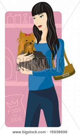 Shopping vector illustration series. Shopping girl with her puppy. Check my portfolio for much more of this series as well as thousands of other great vector items.