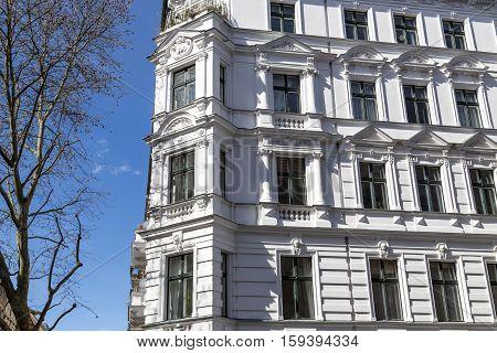 Old White House In Berlin Kreuzberg With Blue Sky