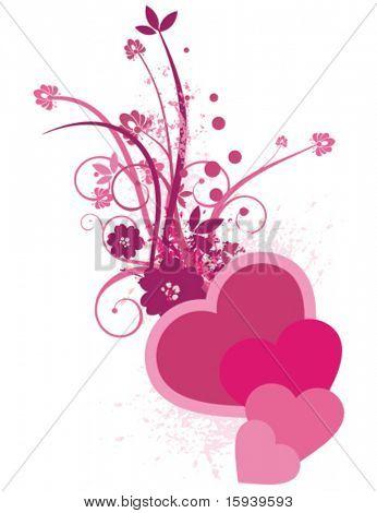 Formas coloridas con flores y detalles de grunge, diseñados en colores morados y violetas.