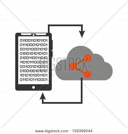 smartphone transfer cloud data share vector illustration eps 10