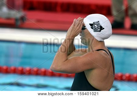 Hong Kong China - Oct 29 2016. Olympic world and European champion World record holder swimmer Katinka HOSSZU (HUN) at the start in Women's Freestyle 200m Final. FINA Swimming World Cup Finals.