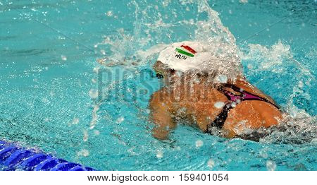 Hong Kong China - Oct 29 2016. Olympian swimmer Evelyn VERRASZTO (HUN) at swimming in Women's Freestyle 200m Final. FINA Swimming World Cup Finals Victoria Park Swimming Pool.