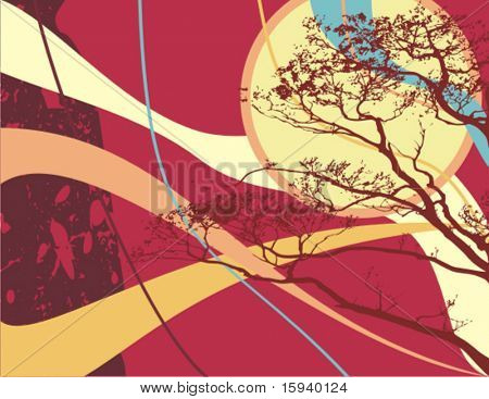 Abstract grunge background series. Vector illustration with wave and branch details.