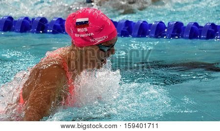 Hong Kong China - Oct 29 2016. Olympian and world champion swimmer Yulia YEFIMOVA (RUS) swimming in Women's Breaststroke 100m Final. FINA Swimming World Cup Finals Victoria Park Swimming Pool.