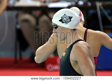 Hong Kong China - Oct 29 2016. Olympic world and European champion World record holder swimmer Katinka HOSSZU (HUN) at the start in Women's Butterfly 100m Final. FINA Swimming World Cup Finals.