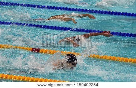 Hong Kong China - Oct 29 2016. SAVARD Katerine (CAN) Katinka HOSSZU (HUN) and WORRELL Kelsi (USA) swimming in the Women's Butterfly 100m Final. FINA Swimming World Cup Victoria Park Swimming Pool.