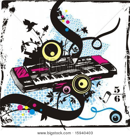 Music instrument background series, vector illustration of a synthesizer with grunge details.