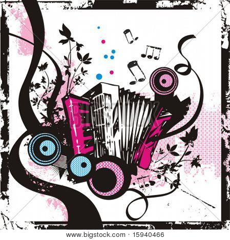 Music instrument background series, vector illustration of an accordion with grunge details.