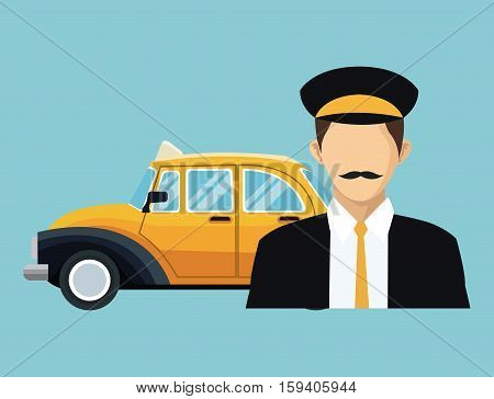 driver old taxi cab car commercial transport vector illustration eps 10