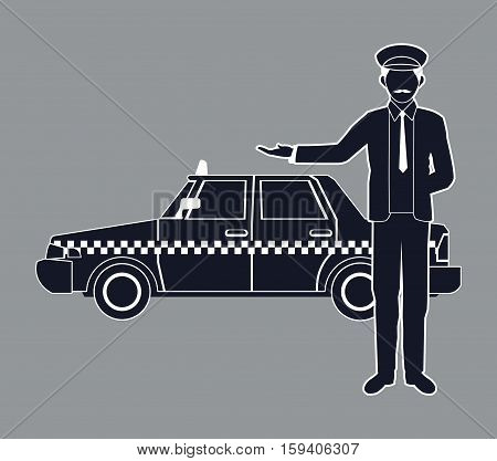 silhouette cab car driver working service public vector illustration eps 10