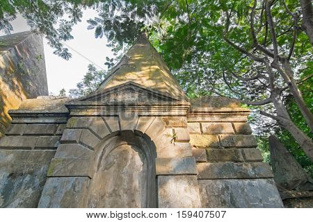 KOLKATA WEST BENGAL INDIA - NOVEMBER 2ND 2014 : Old cemetery at south Park Street Kolkata. It is one of the earliest non-church cemetaries in the world heritage site of Kolkata earlier Calcutta
