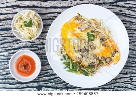 Oyster Omelet With Herb Call Hoi Tod Khai In Thai .