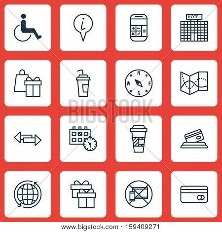 Set Of Travel Icons On Crossroad, Takeaway Coffee And Info Pointer Topics. Editable Vector Illustration. Includes Calendar, Card, Shopping And More Vector Icons.