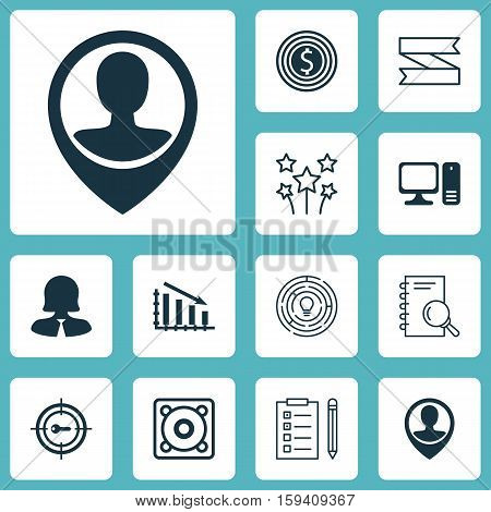 Set Of 12 Universal Editable Icons. Can Be Used For Web, Mobile And App Design. Includes Icons Such As Blank Ribbon, Employee Location, Desktop Computer And More.