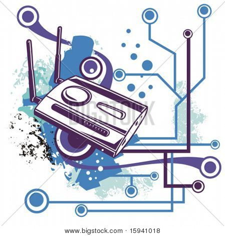 Computer related abstract background series. Vector illustration with a wireless network router, and circuit and grunge details.
