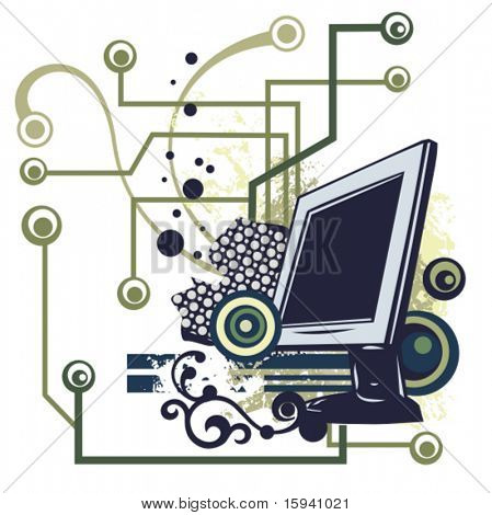 Computer related abstract background series. Vector illustration with a LCD monitor, and circuit and grunge details.