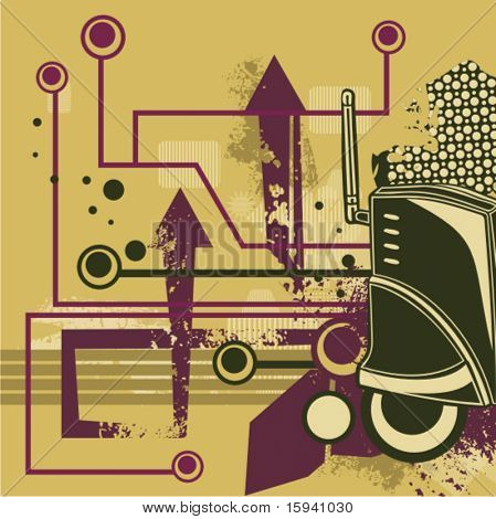 Computer related abstract background series. Vector illustration with a wireless router, and circuit and grunge details.