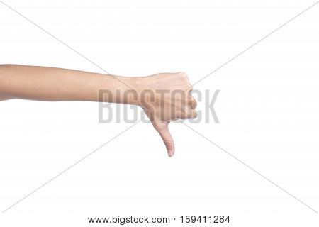 Women's hand shows thumb down isolated on white background