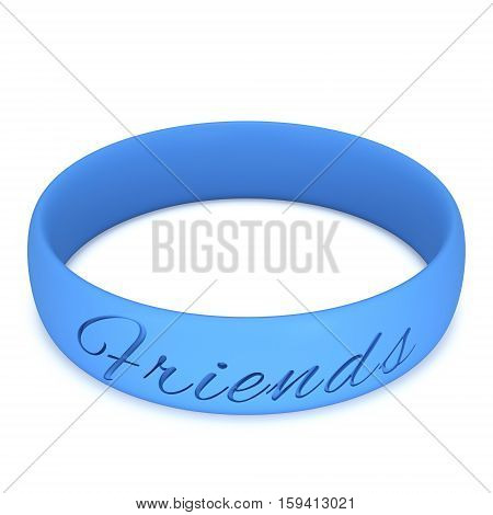 Blue rubber plastic stretch friends bracelet. 3d render isolated on white background.