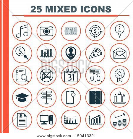 Set Of 25 Universal Editable Icons. Can Be Used For Web, Mobile And App Design. Includes Icons Such As Messaging, Photo Camera, Street And More.