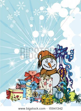 Winter holiday vector background with many gift boxes, baubles and a snowman, vector illustration.