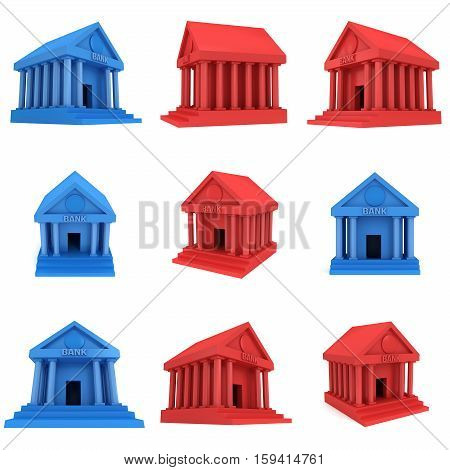 Red and blue Bank building. 3D render icon isolated on white. Finance and credit concept.