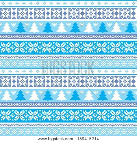 Winter Christmas traditional knitted ornamental background  seamless pattern