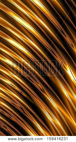 Simple striped background - computer-generated image. Fractal geometry:golden glossy diagonal stripes with light effects. For covers, web design, banners.