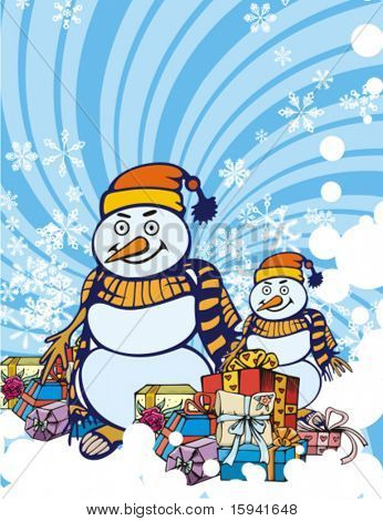 Winter holiday background with gift boxes, snowmen and snowflakes, vector illustration.