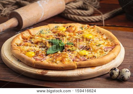 Pizza Carbonara On A Wooden Vintage Table