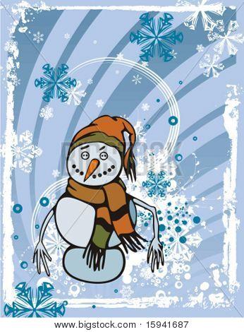 Fondo de la decoración de vacaciones con un muñeco de nieve, Ilustración de vectores de invierno.