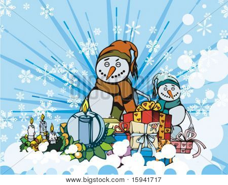 Winter holiday background with gift boxes, candles and snowmen, vector illustration.
