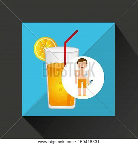 man cocktail shorts towel beach vacations vector illustration eps 10