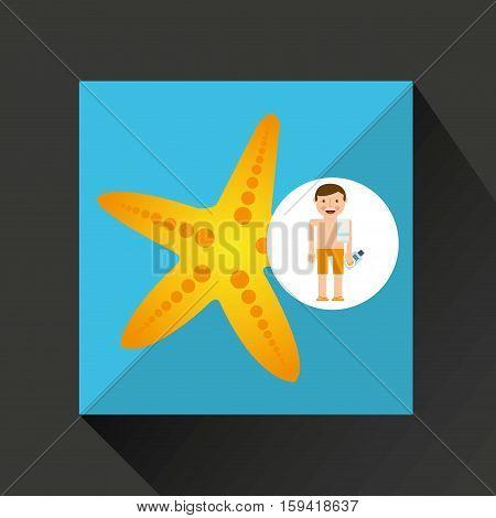 man shorts towel beach vacations starfish yellow vector illustration eps 10