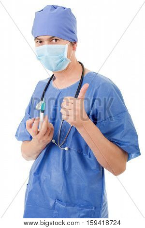 Happy male doctor showing thumbs up, isolated